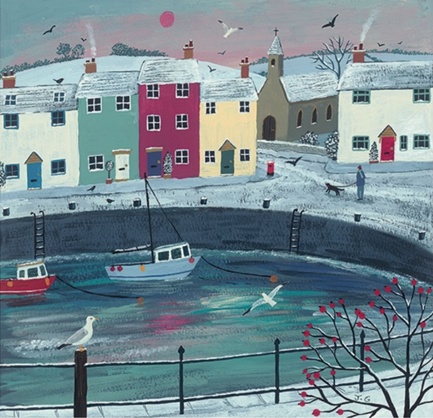 Jo Grundy - A Walk Round Winter Harbour / Print size: 300 x 290 mm