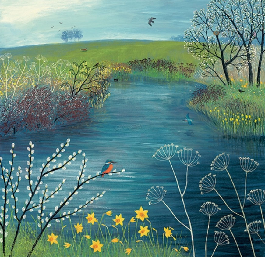 Jo Grundy - Spring at Kingfisher Pool / Print size: 300 x 290 mm