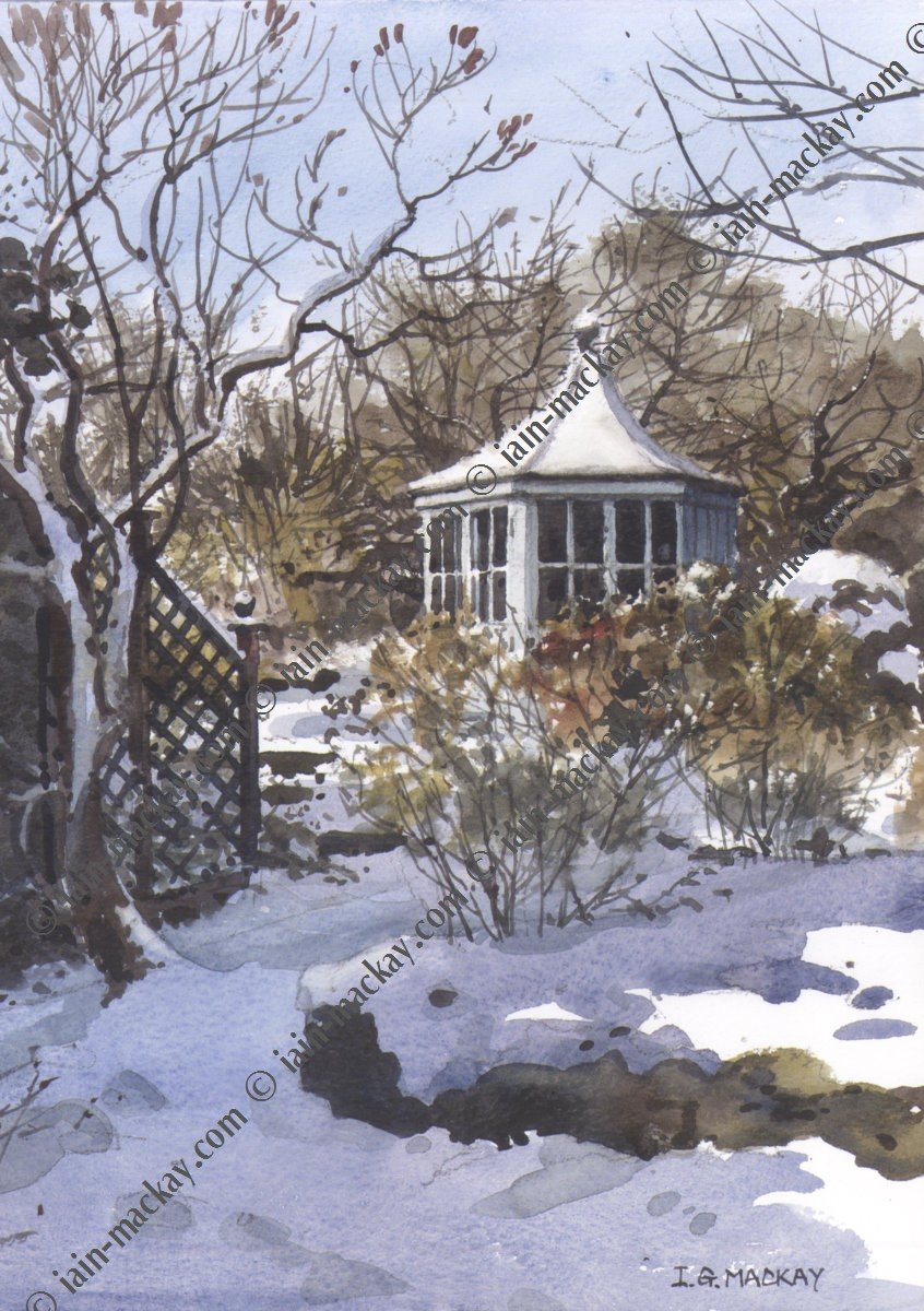 Summerhouse In Snow - Iain McKay / Print size: 395 x 285 mm